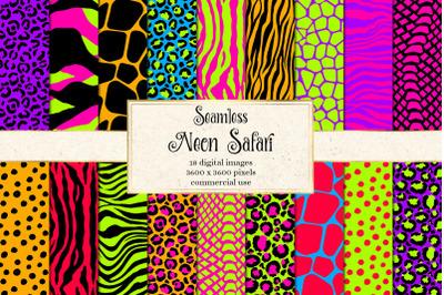 Neon Safari Digital Paper