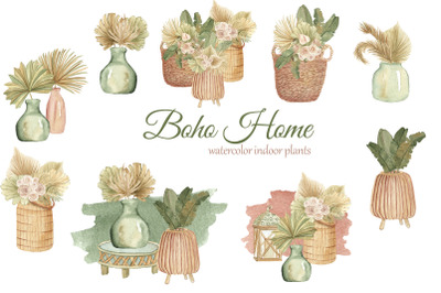 Boho indoor plants watercolor clipart. Dried tropical flowers bouquets