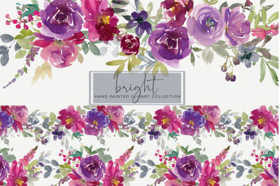 Watercolor Floral Clipart Purple and Magenta