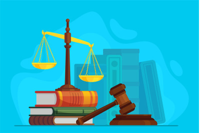 Law and justice. Scale justice and wooden judge gavel, auction symbol,