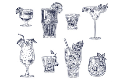 Sketch cocktails. Alcoholic drinks, cocktails. Pina colada, americano