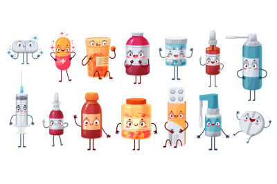 Cartoon medicine mascot. Cute happy pills characters kill bacteria and