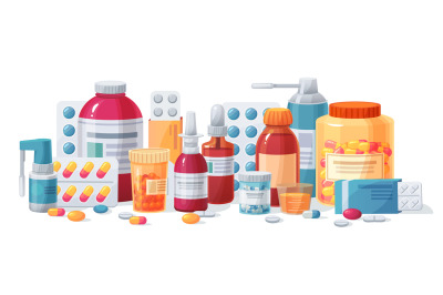 Cartoon meds. Drugs, tablet capsules and prescription bottles. Blister