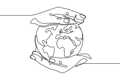 Earth in hand. Human hands holding earth world planet. Global digital
