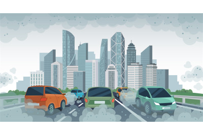 Cars air pollution. Polluted air environment at city, vehicle traffic