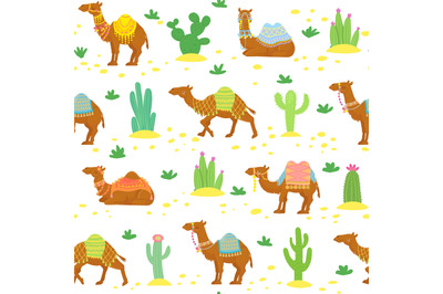 Camel seamless pattern. Cute cartoon desert camels among cactuses. Egy