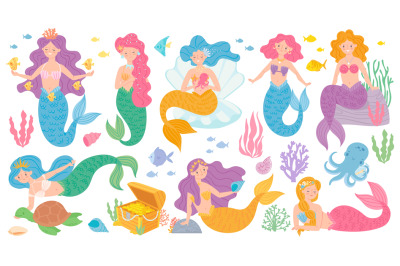 Cute mermaids. Fairytale underwater princess, mythological sea creatur