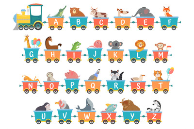 Alphabet train with animals. Cartoon animal illustration in van