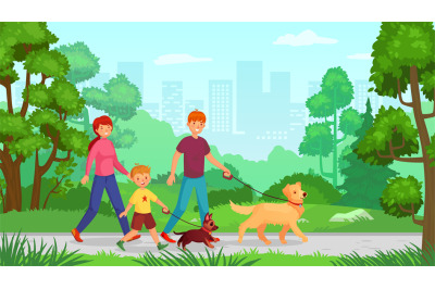 Family walking with dog. Man woman with kid go in park