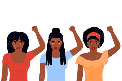 Black Lives Matter. African American women with raised fists