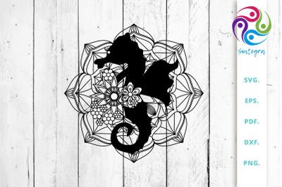 Mandala With Sea Horse Cut File