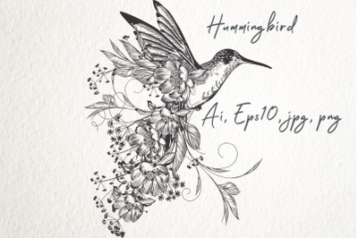 Fashion vector illustration with hummingbird in elegant vintage style