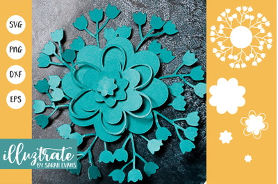 3D Flower SVG Cut Files | Flower SVG | Layered Flower DXF