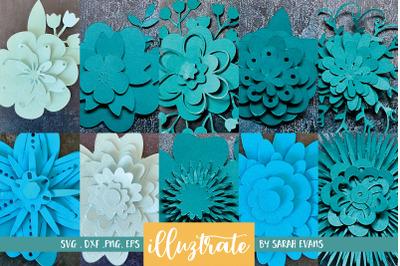 Paper Flowers SVG Bundle - 3D Papercraft designs