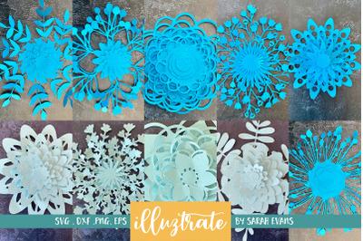 SVG Paper Flower Bundle - 3D Paper Flowers Bundle