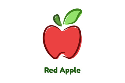 Red Apple graphic color vector