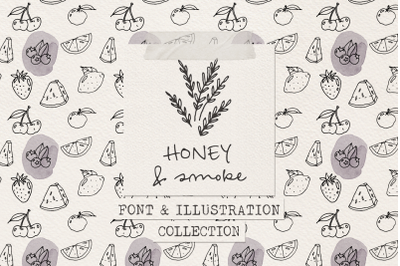 Honey and Smoke font and illustration collection