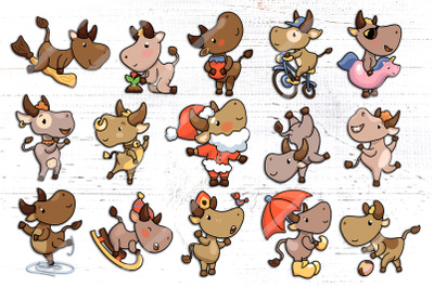 2021 Year of Ox, Cute Character Set Vector And Raster Clipart