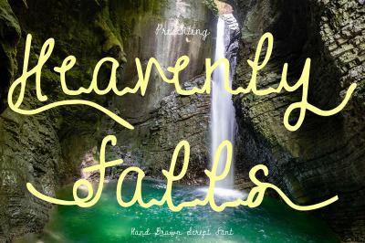 Heavenly Falls - Handwritten Script Font With Extras
