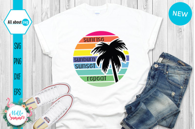 Sunrise Svg, Sunset Svg, Palm Tree Svg