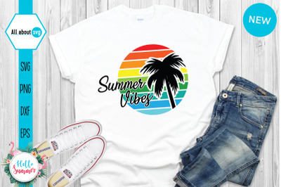 Summer Vibes Svg, Vintge Sunset Svg
