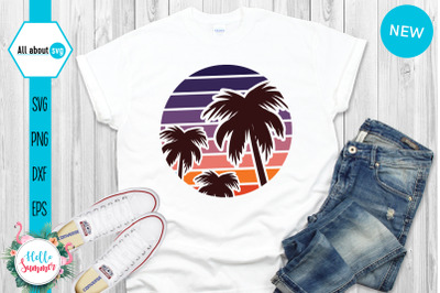Vintage Palm Trees Sunset Svg