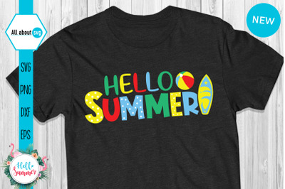 Colorful Hello Summer Svg