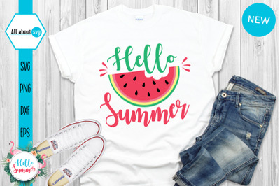 Hello Summer Svg, Watermelon Svg