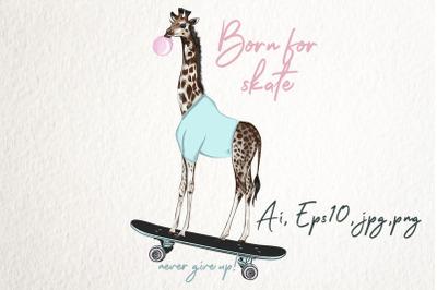 Fashion hipster vector illustration with giraffe on skateboard