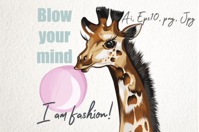 Fashion vector illustration with giraffe and gum