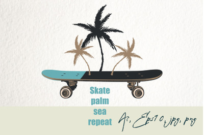 Fashion illustration with skateboard and palms