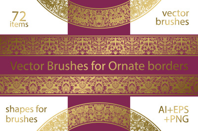 72 ornate vector brushes