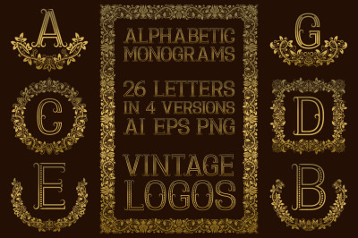 Vintage alphabetic monograms