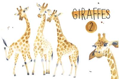 Watercolor giraffes 2