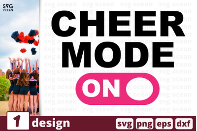 1 CHEER MODE ON, cheer quote cricut svg