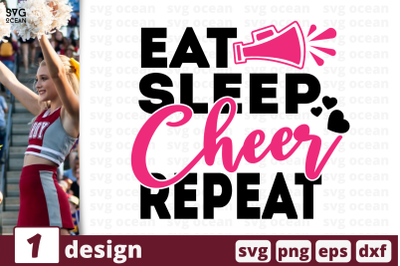 1 EAT SLEEP CHEER REPEAT, cheer quote cricut svg