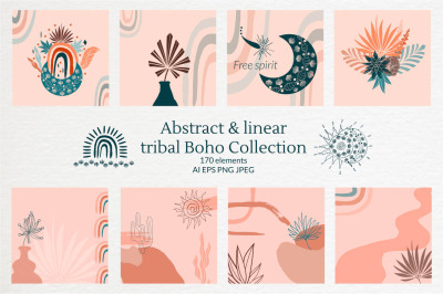 Abstract linear tribal Boho Collection Modern ethnic clipart