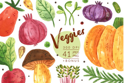 Veggies watercolor clipart. Vegetables, gardening. JPEG PNG