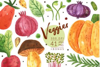 Veggies watercolor clipart. Vegetables, gardening. JPEG PNG