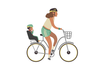 Woman and child on bicycle. Young happy mother with baby riding vector