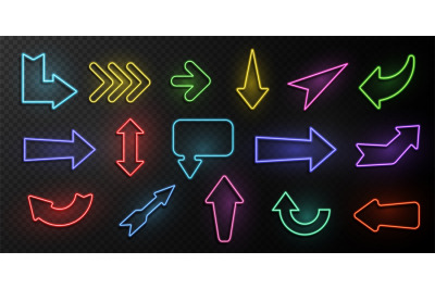 Neon arrows. Lighting with bright design signs, glowing vintage arrow