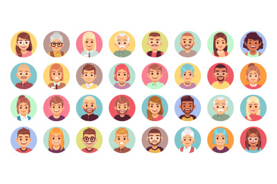 People cartoon avatars. Diversity of office workers flat character and