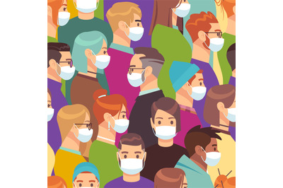 Coronavirus. People in medical mask vector crowd seamless pattern or b