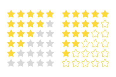Five star rating. Modern rated objects for feedback bar, vector review