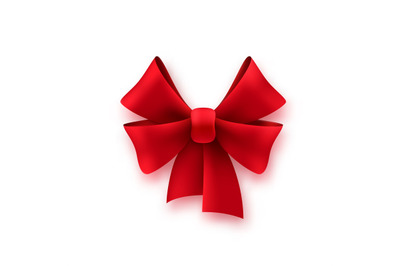 Gift silk red bow. Shiny textile decoration on present for birthday or