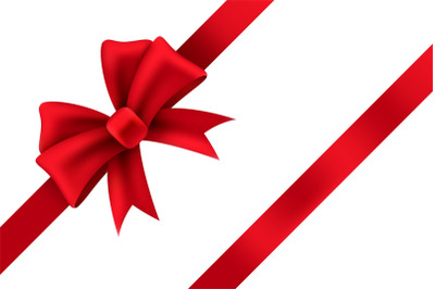 Red satin gift bow. Package of holiday present vector ribbon decoratio