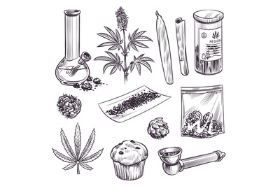 Sketch cannabis. Cosmetic and medical plant marijuana leaves, weed joi