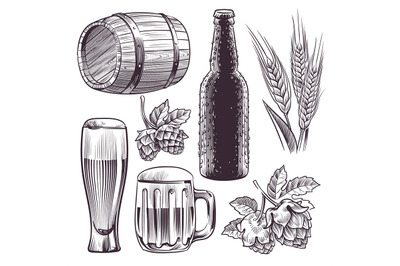 Hand drawn beer. Mug, barrel and beer glass and bottle, wheat or malt