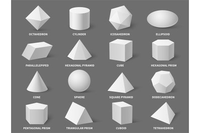 Geometric 3d shapes. Realistic white basic geometry form sphere and py