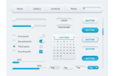 White interface elements. Universal ui template for mobile application